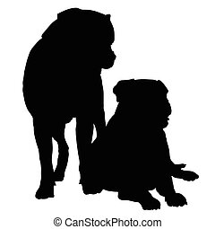 Mastif Pair - Silhouette of a pair of large dogs such as a...