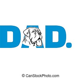 mastiff, papa, bleu