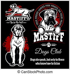 Mastiff - vector set for t-shirt, logo and template badges