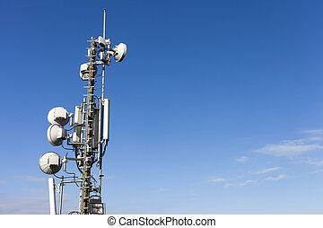 mastro, telecomunicação, antena