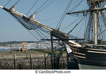 Masts and prow of the historic ship named Three-masted...