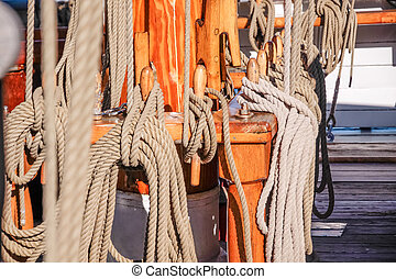 Masts and ropes of a large sailing ship