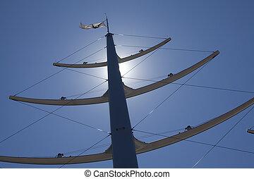 Masts on blue sky