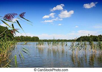 Masuria (Mazury) - famous lake district in Poland. Summer landscape in Europe. Wydminskie lake.