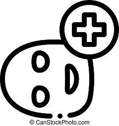maszk, arc, ikon, ábra orvosi, kereszt, áttekintés