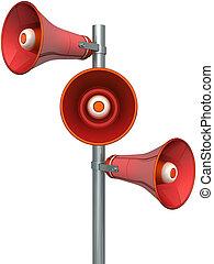 maszt, trzy, loudspeakers, czerwony