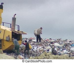 maszyna, śmieci, pollution., ludzie, pozycje, powerty.,...