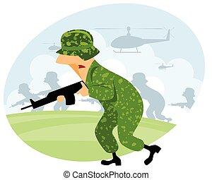 maszyna, żołnierz, armata