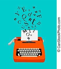 maszyna do pisania, barwny, ikona