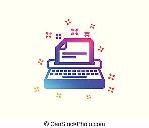 maszyna do pisania, icon., wektor, poznaczcie., dokumentacja