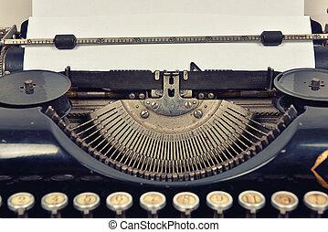 maszyna do pisania, z, czysty, papier