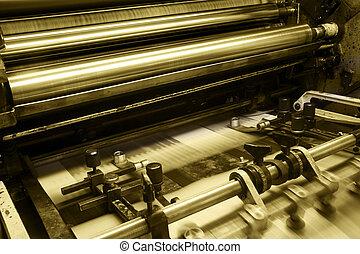 maszyna, druk, odrośl