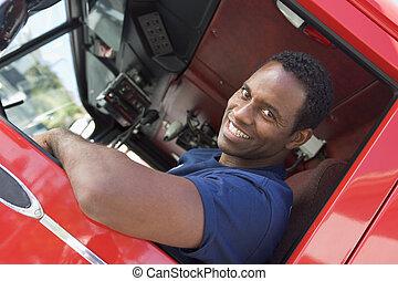maszyna, ogień, firefighter, taksówka, posiedzenie