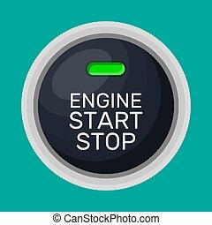 maszyna, początek, zatrzymywać, button.