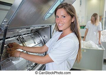 maszyna, przemysłowy, myć