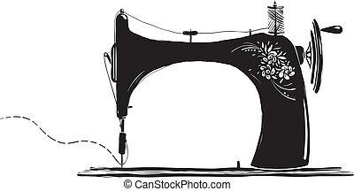 maszyna, rocznik wina, szycie, ilustracja, atramentowy