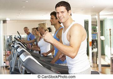 maszyna, sala gimnastyczna, wyścigi, człowiek