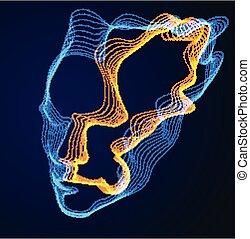 maszyna, techniczny, kropkowany, portret, lines., futurystyczny, software, robiony, rozwój, illustration., dusza, czas, cyfrowy, cząstki, potok, modeluje, głowa, wektor, piękny, machać, ludzki