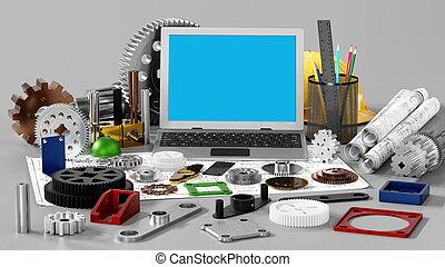 maszyna, technika, rysunek, mechaniczny