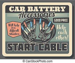 maszyna, wóz, początek, przybory, strony, auto, liny
