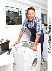 maszyna, zamocowywanie, instalator, myć, złamany