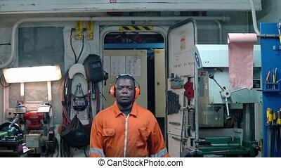 maszyna, znaczkownia, ecr., oficer, afrykanin, marynarka,...