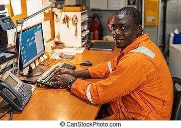maszynownia, pracujący, oficer, marynarka, inżynier