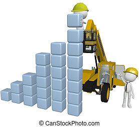 maszyny budowlane, ludzie, gmach, handlowy, wykres