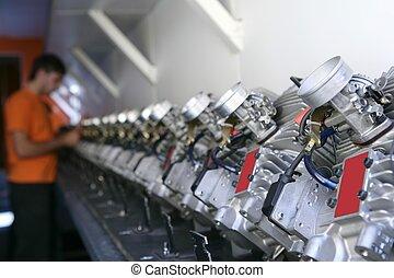 maszyny, kart, wozy, been, skontrolowany, kreska, hałas