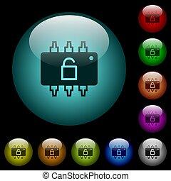 matériel, éclairé, déverrouillé, couleur, icônes, boutons, ...