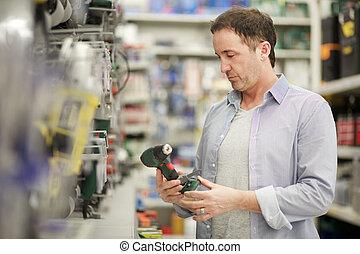 matériel, achats, magasin, homme