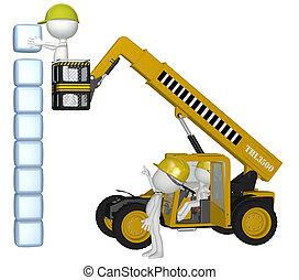 matériel construction, gens, bâtiment, cubes, pile