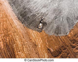 matériel construction, lourd, earthworks, above., photographie aérienne, bulldozer, sommet, site, ground., vue.