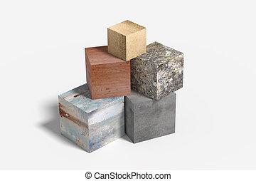 matériel, différent, cube, tridimensionnel, fait
