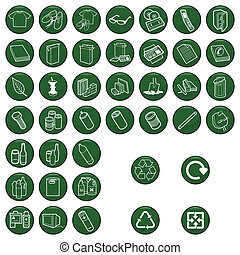 matériel, ensemble, icône, recyclable