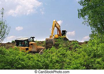 matériel lourd, bandes, végétation