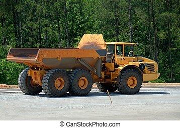 matériel lourd, camion, décharge