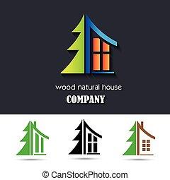 matériel, maison, symbole, bois