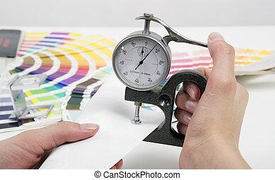 matériel, mesure, micromètre, épaisseur