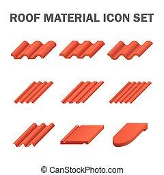 matériel, toit, icône