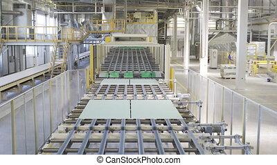 matériels, planche, factory., gypse, convoyeur, sheet., ou, production, placoplâtre, fabrication, bâtiment, drywall