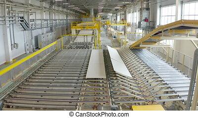 matériels, planche, factory., gypse, feuille, convoyeur, construction, fabrication, ou, production, placoplâtre, feuilles, drywall