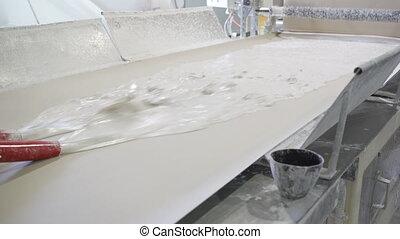 matériels, planche, factory., gypse, feuille, convoyeur, construction, ou, production, placoplâtre, drywall, fabrication