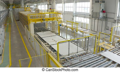 matériels, planche, factory., gypse, feuille, convoyeur, ou, production, placoplâtre, drywall, bâtiment, fabrication