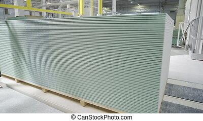 matériels, planche, factory., gypse, feuille, convoyeur, ou, production, placoplâtre, fabrication, bâtiment, drywall