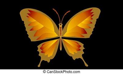 mat, alpha, animé, papillon, jaune