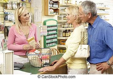 mat, assistent, försäljningarna, hälsa, kvinnlig, lager