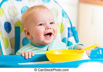 mat, baby, le, äta, kök