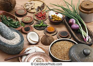 mat, blandning, indisk, ingrediens