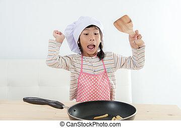 mat, concept., matlagning, asiatisk flicka, hem